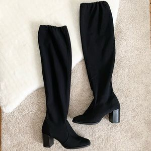 RN Rapisardi Firenze Black Over The Knee Sock Boot